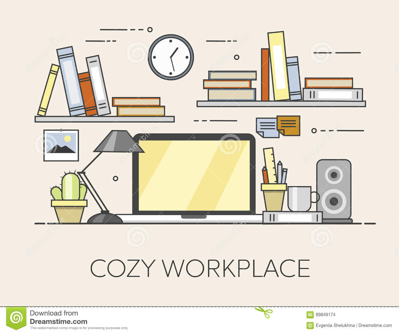 Flat modern design vector illustration concept of creative office room - Workplace Cozy Baby Room Decor Children Bedroom Interior