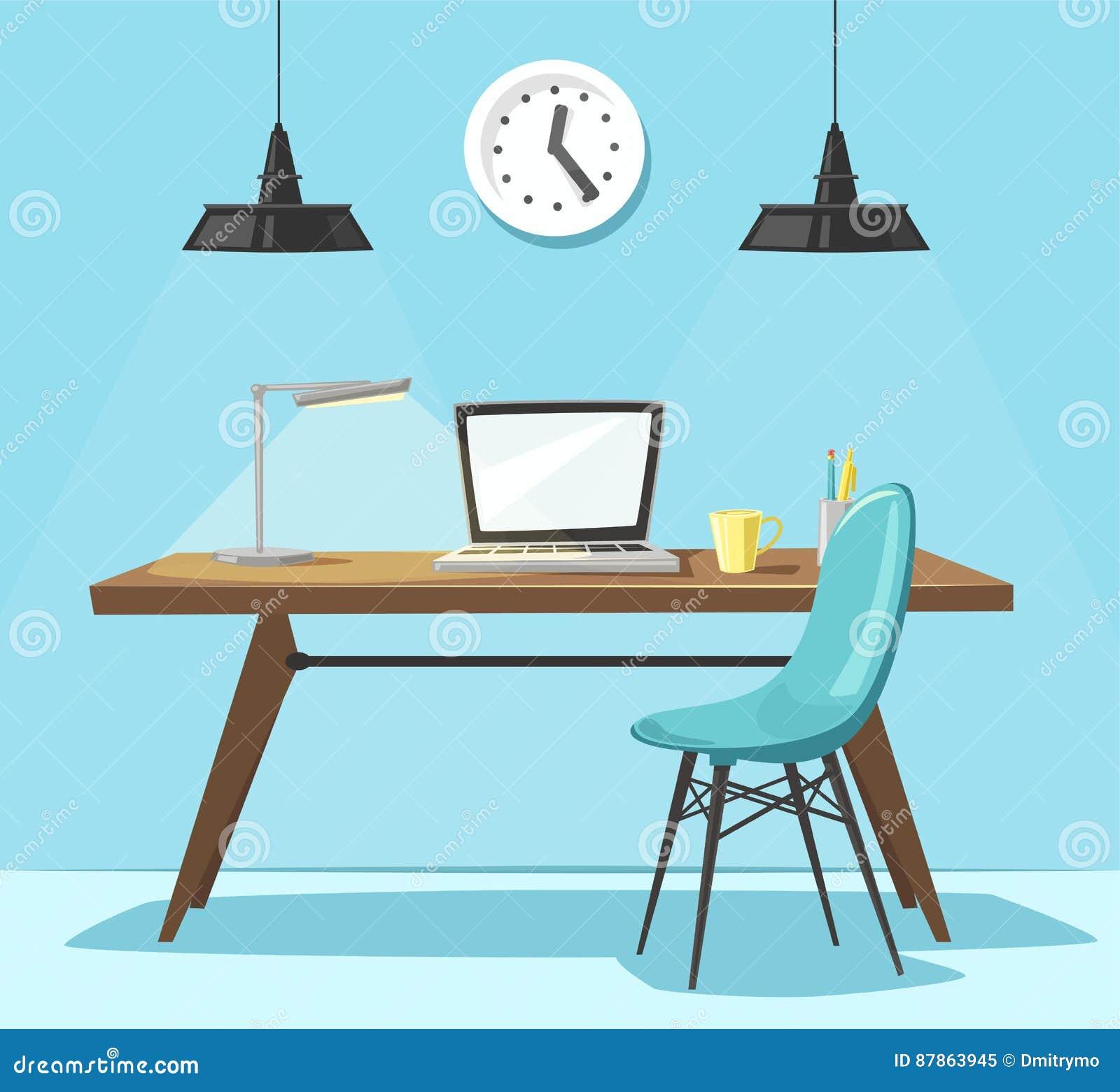 Modern Workplace Office Work Cartoon Vector Illustration Stock