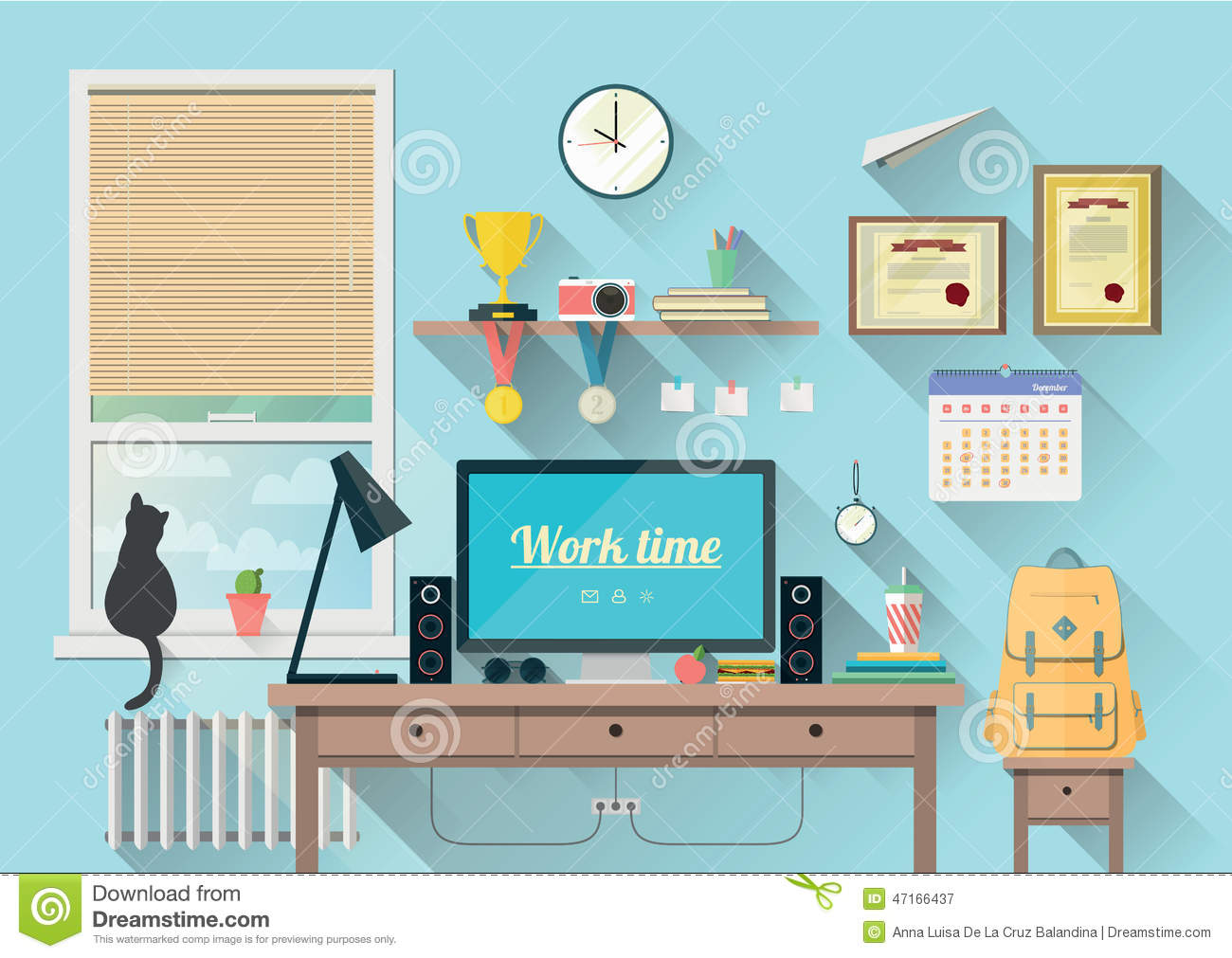 Modern workplace in room stock vector image 47166437 for Office design vector