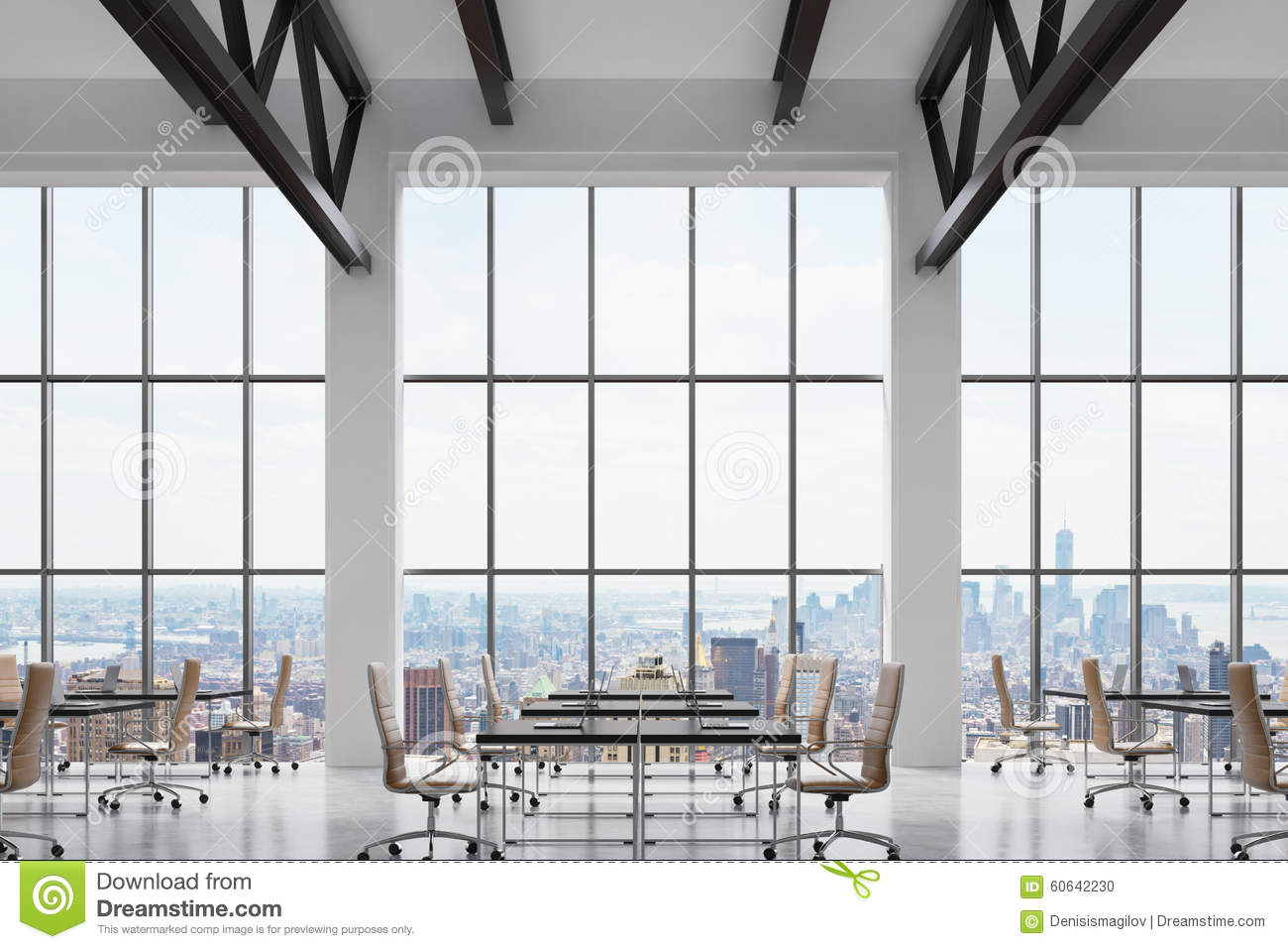 bright office. Modern Workplaces In A Bright Clean Interior Of Loft Style Office. Huge Windows With New York Panoramic View. Black Desks Office E