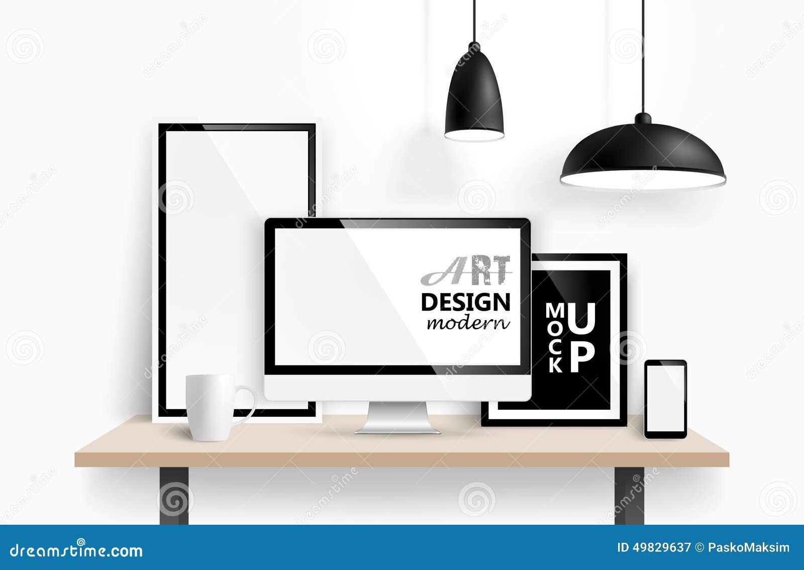 royalty free vector download modern workspace design - Design Workspace