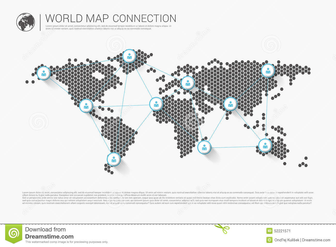 Modern World Map Modern World Map Connection Concept. Vector Stock Vector  Modern World Map