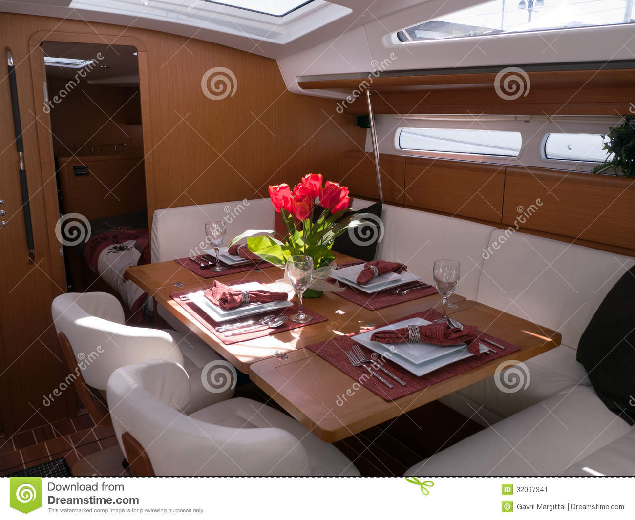 Modern Yacht Interior Stock Image Image 32097341 : modern yacht interior mahogany furniture finish dining room 32097341 from www.dreamstime.com size 1300 x 1065 jpeg 153kB
