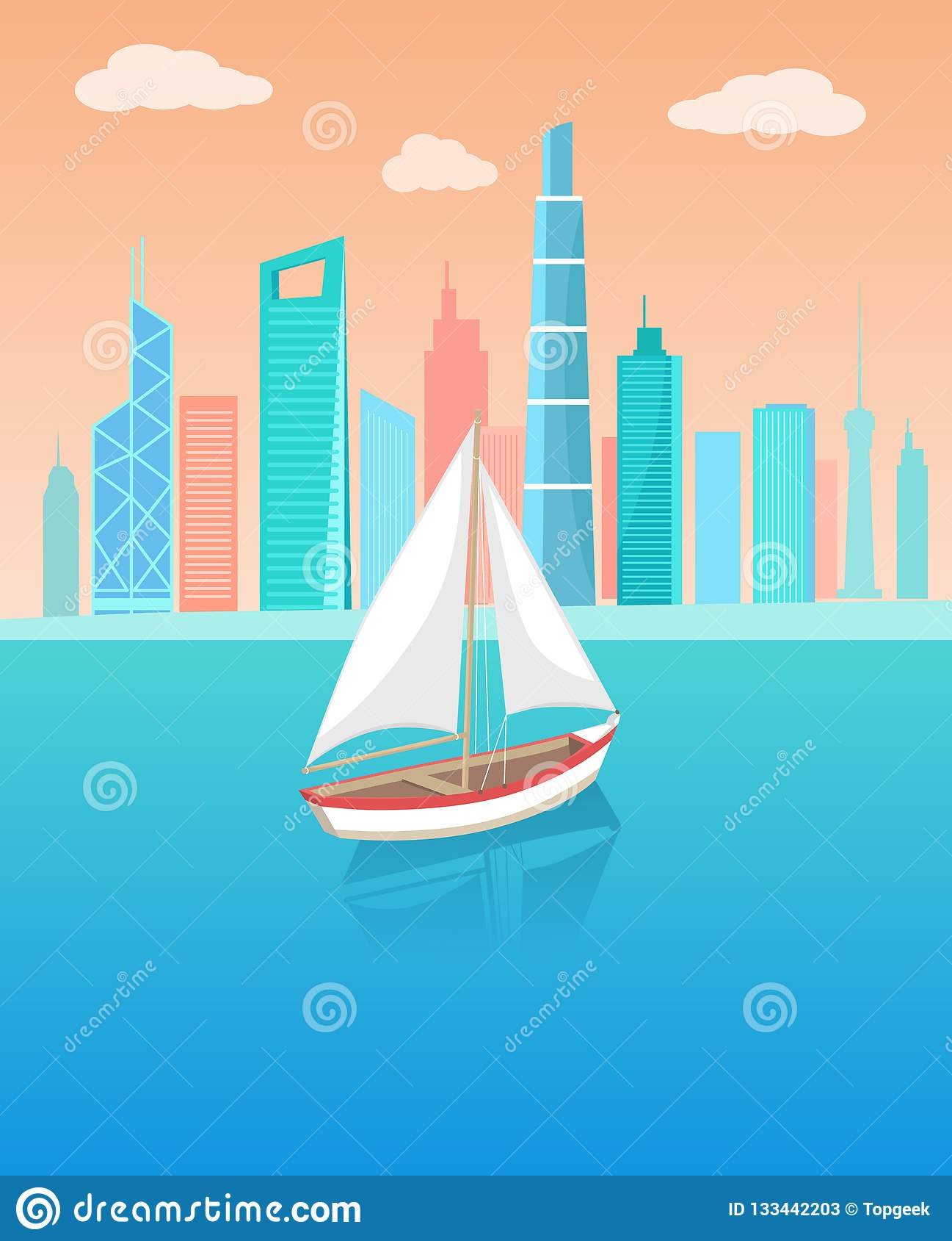 Modern yacht Marine Nautical Personal Ship Icon