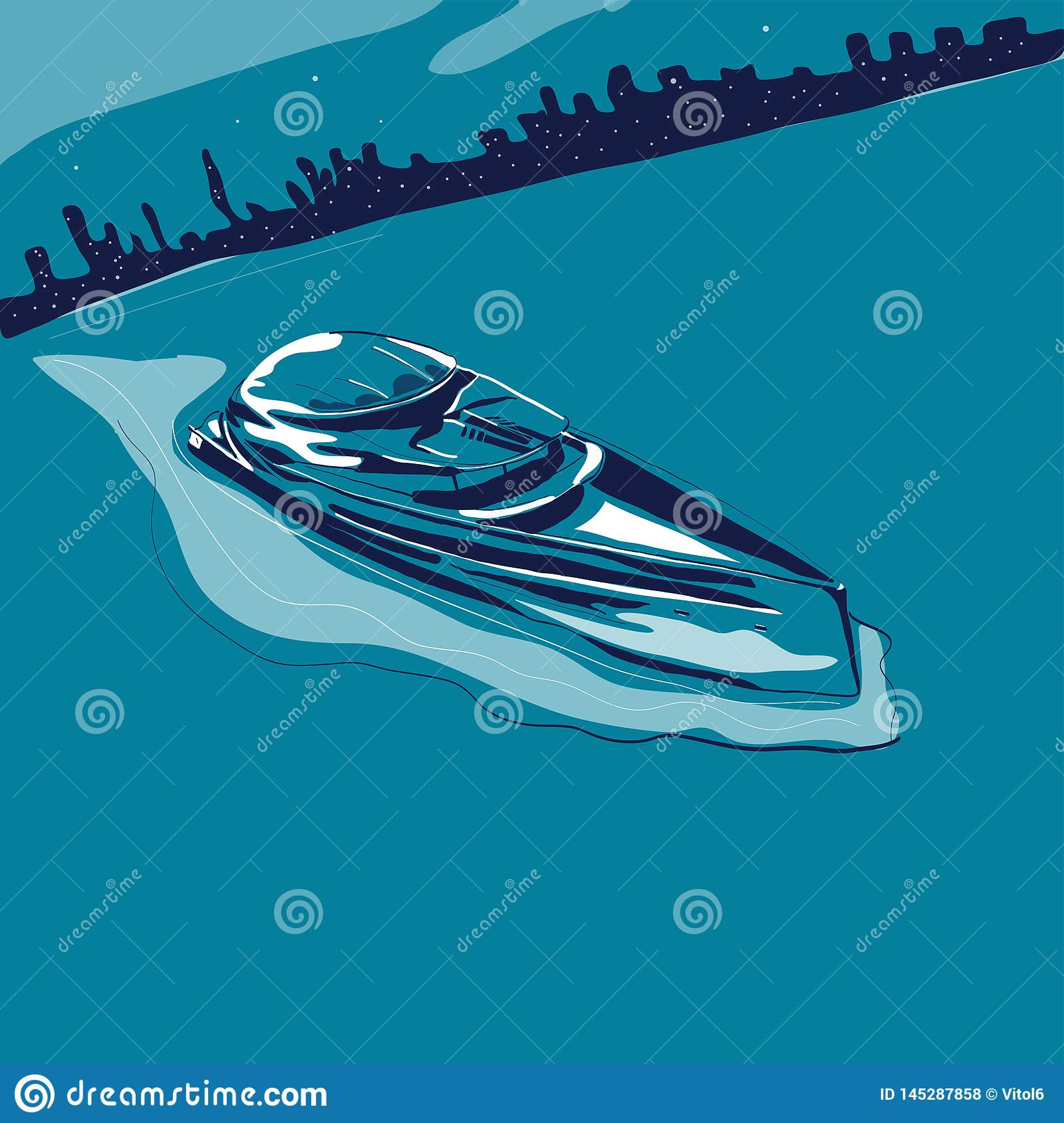 Modern yacht sailing in sea on background of night city vector