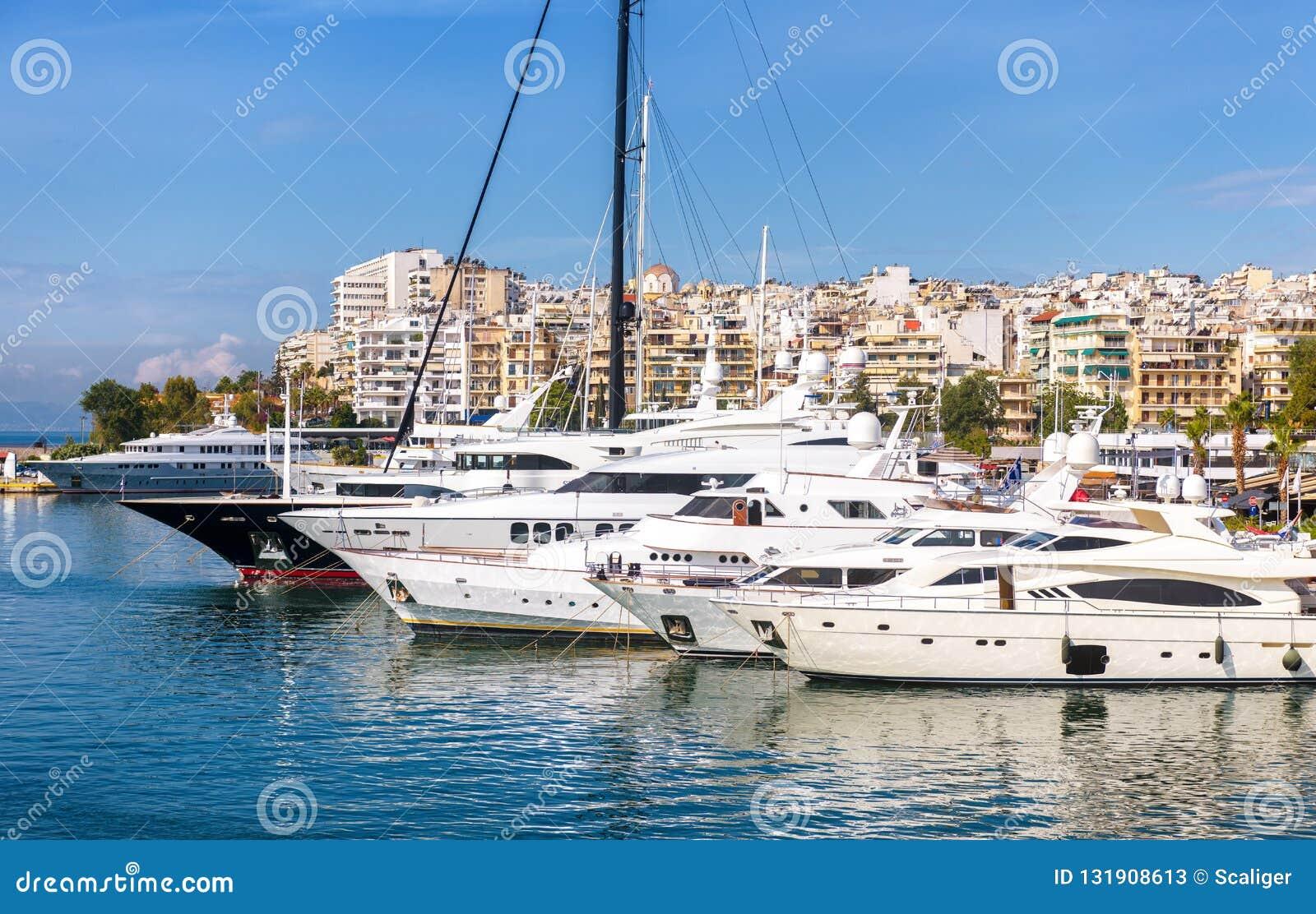 Modern Yachts Parking In Beautiful Marina In Piraeus, Athens