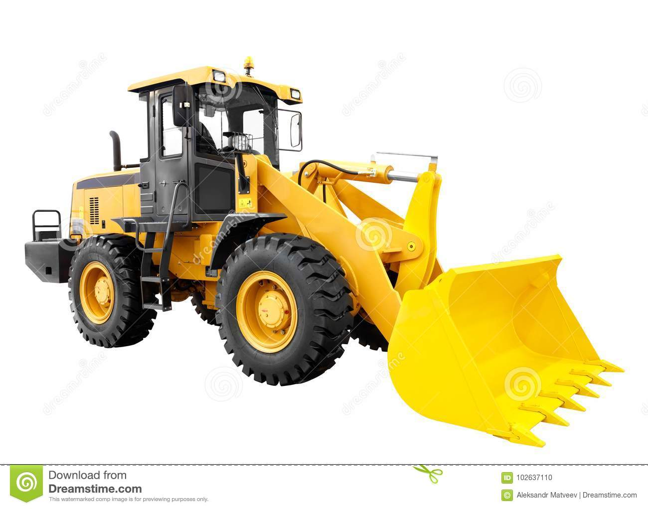 Download Modern Yellow Loader Bulldozer Excavator Construction Machinery Equipment Isolated On White Background Stock Photo