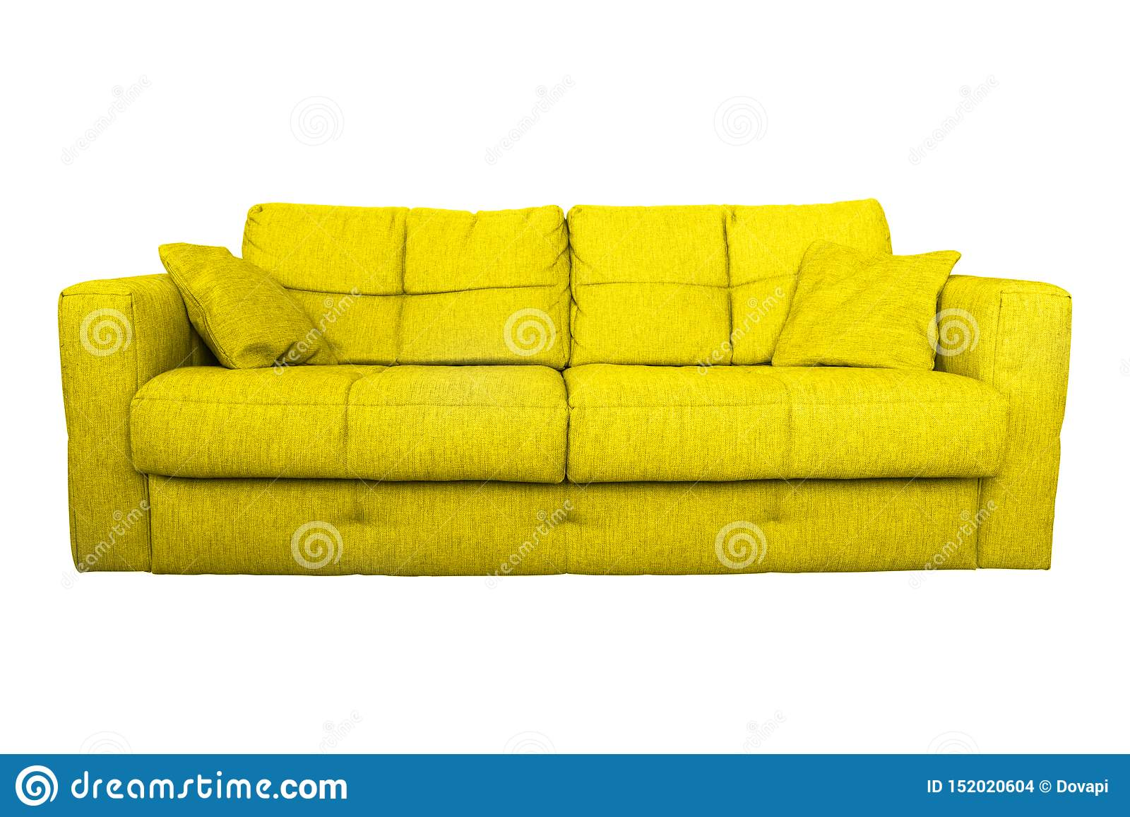 Modern Yellow Sofa Or Couch Furniture Stock Photo - Image of ...