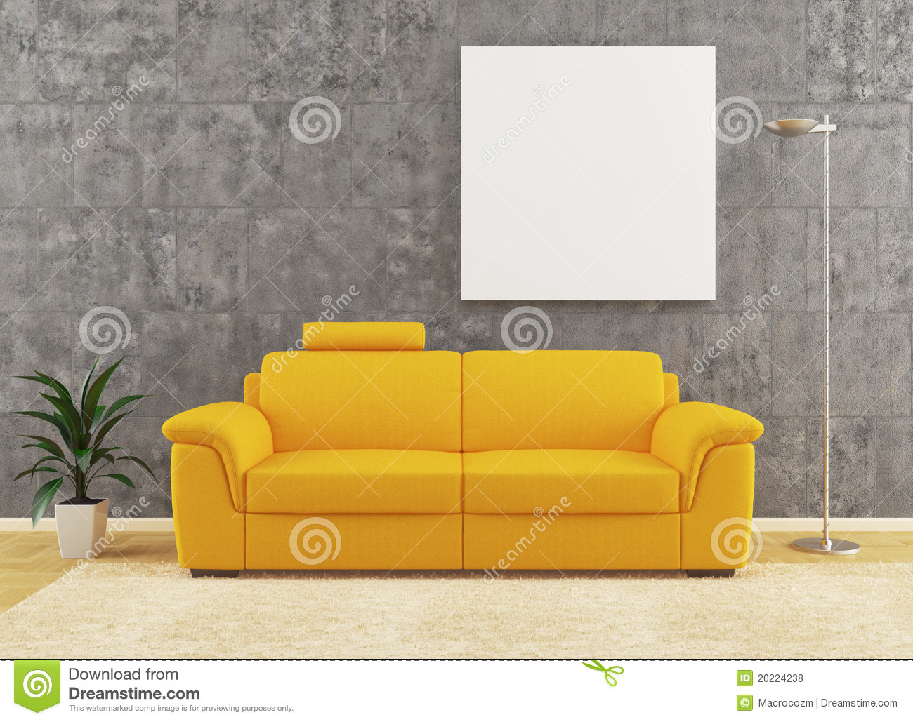 Modern Yellow Sofa On Dirty Wall Interior Design Stock