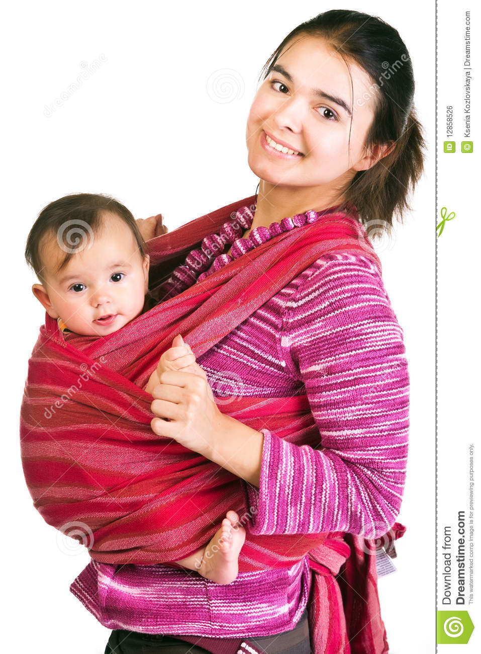 Young Mother With Baby In Sling Stock Photography - Image
