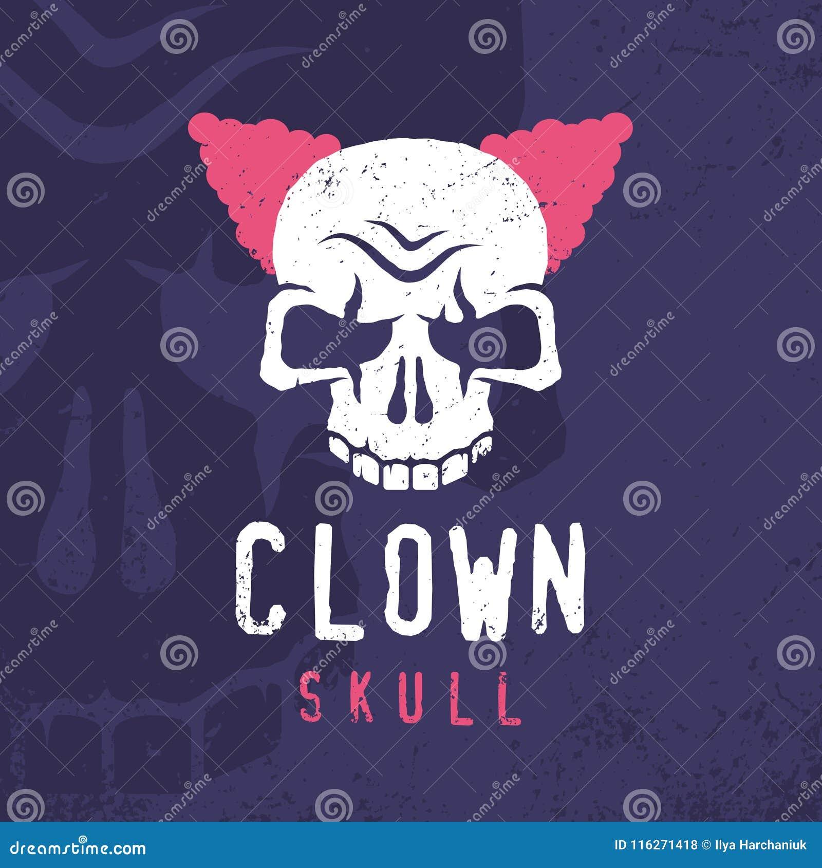 Modern yrkesmässig emblemclownskalle i purpurfärgat och rosa tema