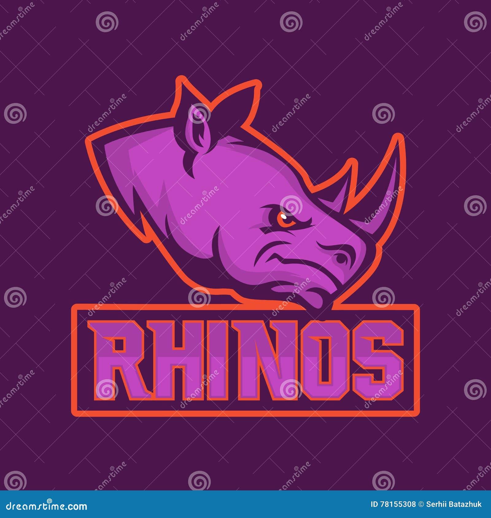 Modern yrkesmässig logo för sportlag Noshörningmaskot Noshörningar vektorsymbol på en mörk bakgrund