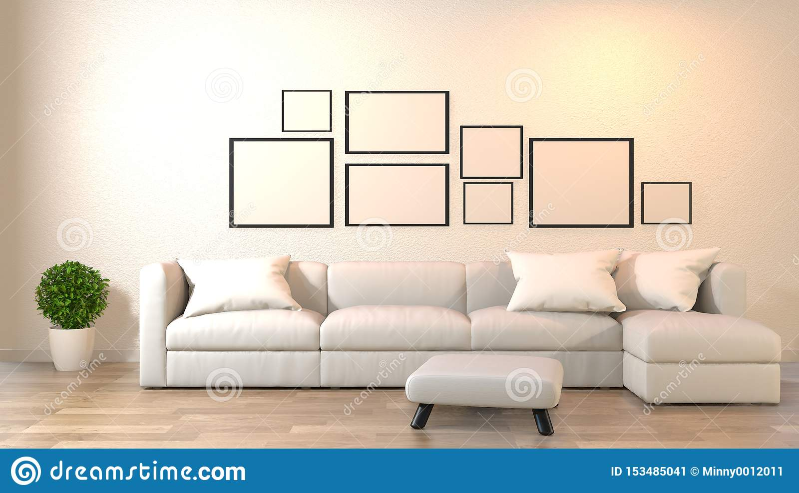 Modern Zen Living Room With Sofa And Furniture Japanese ...