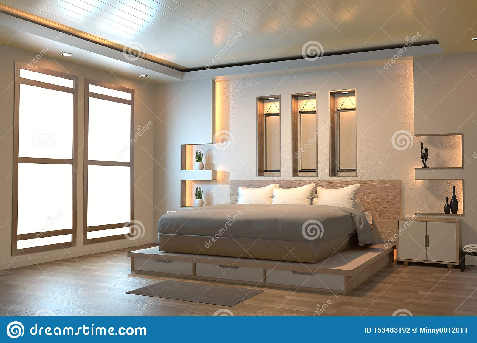 Modern Zen Peaceful Bedroom Japan Style Bedroom With Shelf Wall Design Hidden Light And Decoration Japanese Style 3d Rendering Stock Illustration Illustration Of Living Modern 153483192