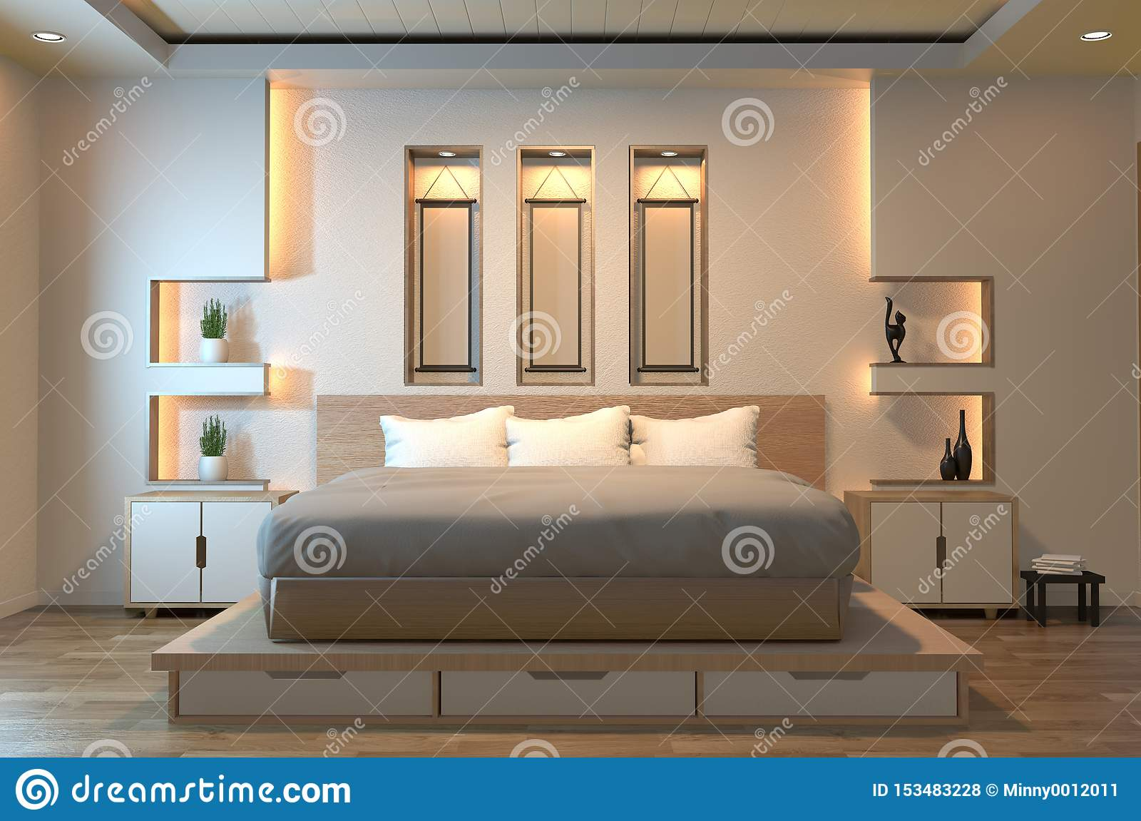 Modern Zen Peaceful Bedroom Japan Style Bedroom With Shelf Wall Design Hidden Light And Decoration Japanese Style 3d Rendering Stock Illustration Illustration Of Living Household 153483228