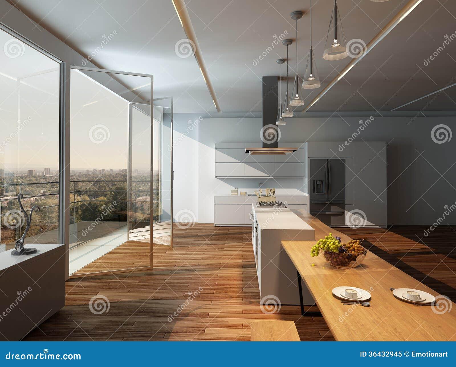 Modern zonnig keukenbinnenland met houten vloer royalty vrije ...