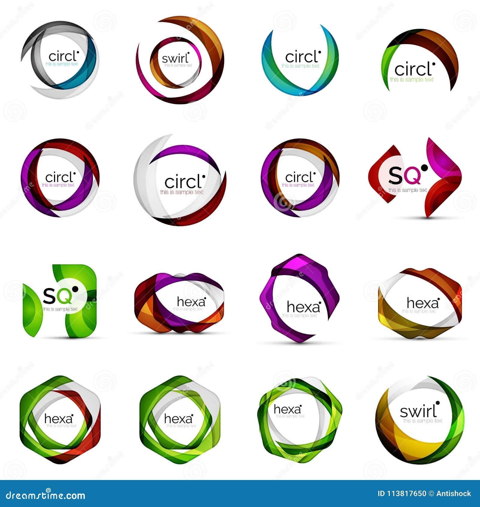 Moderna överlappande geometriska logoer för former