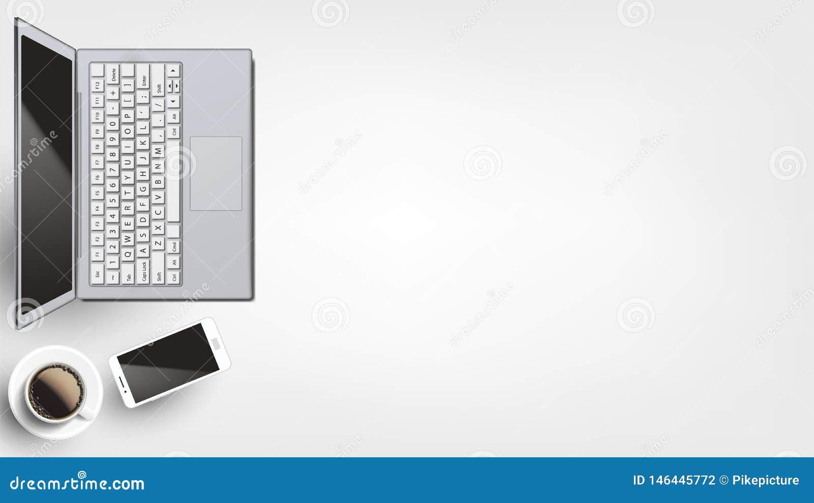 Moderna apparater på arbetsplatslägenhet lägger vektorn