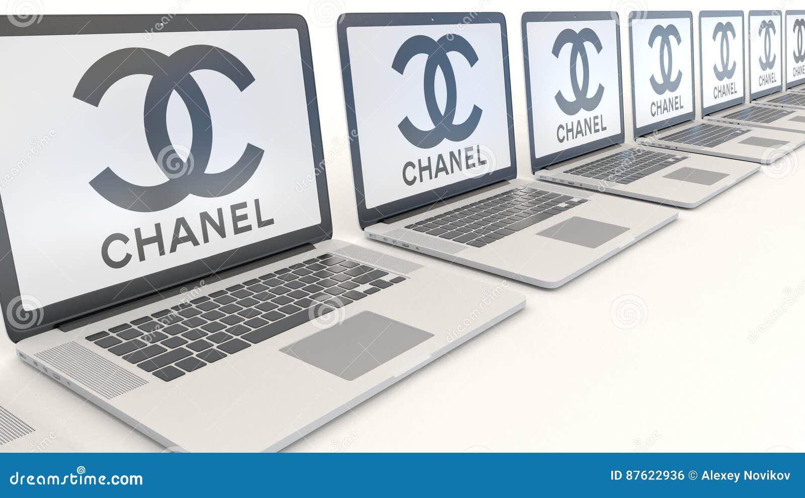 Moderna bärbara datorer med den Chanel logoen Tolkning för ledare 3D för datateknik begreppsmässig