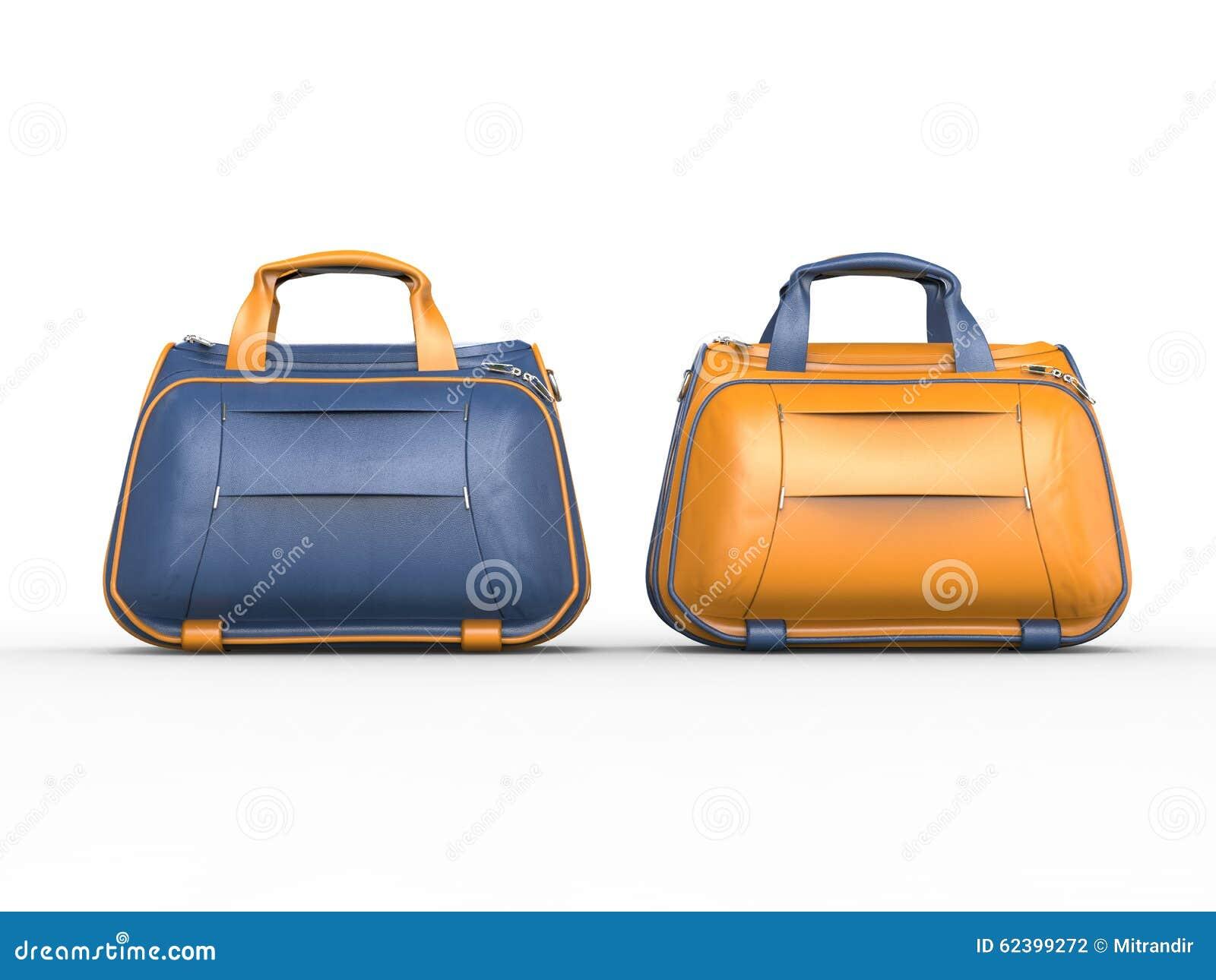 Moderna blåa och gula handväskor