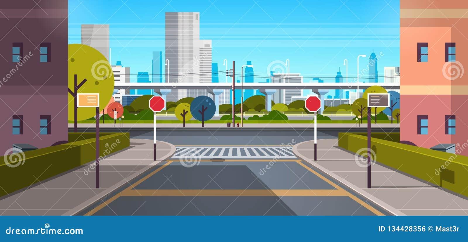 Moderna byggnader för skyskrapa för stadsgataarkitektur beskådar solig dag för tom i stadens centrum stads- cityscapebakgrund för