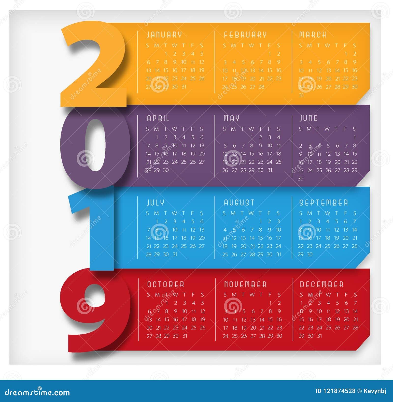 2019 moderna färgrika stora för kalender
