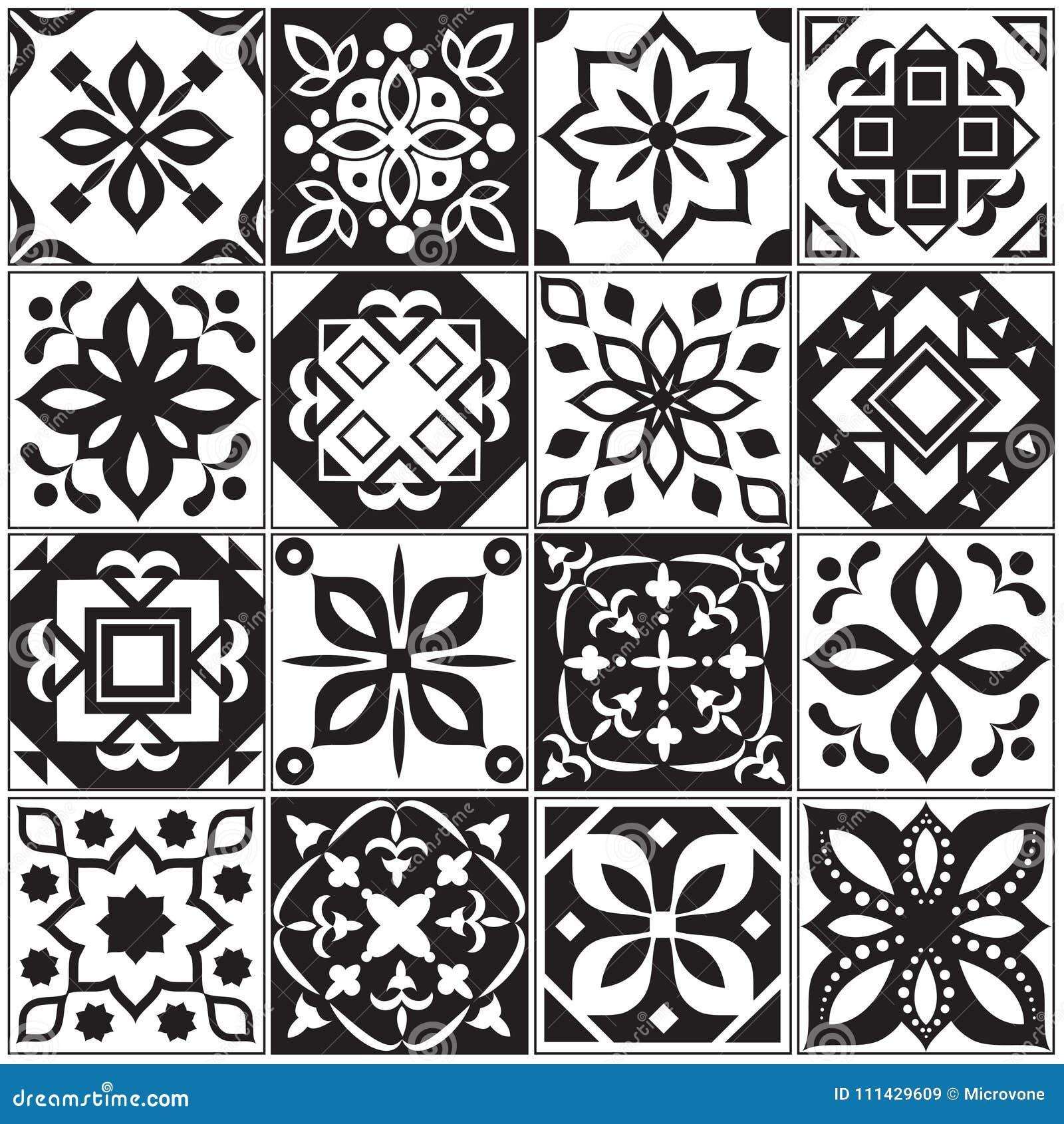 Moderna inre spanjor och turktegelplattor Blom- vektormodeller för kök