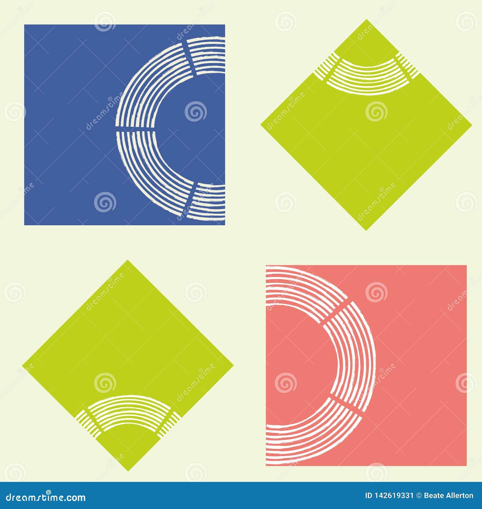 Moderne abstracte kalk, koraal en blauwe vierkanten met textuur van de borstel de semi cirkel Naadloos geometrisch vectorpatroon