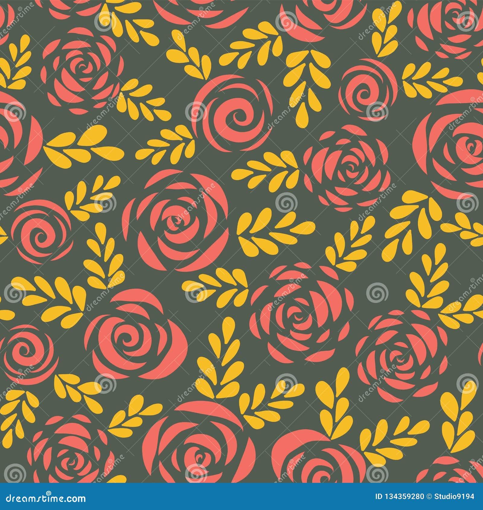 Moderne abstracte vlakke rozen en bladeren rode gouden naadloze vectorachtergrond bloemensilhouetten Bloempatroon voor Valentijns