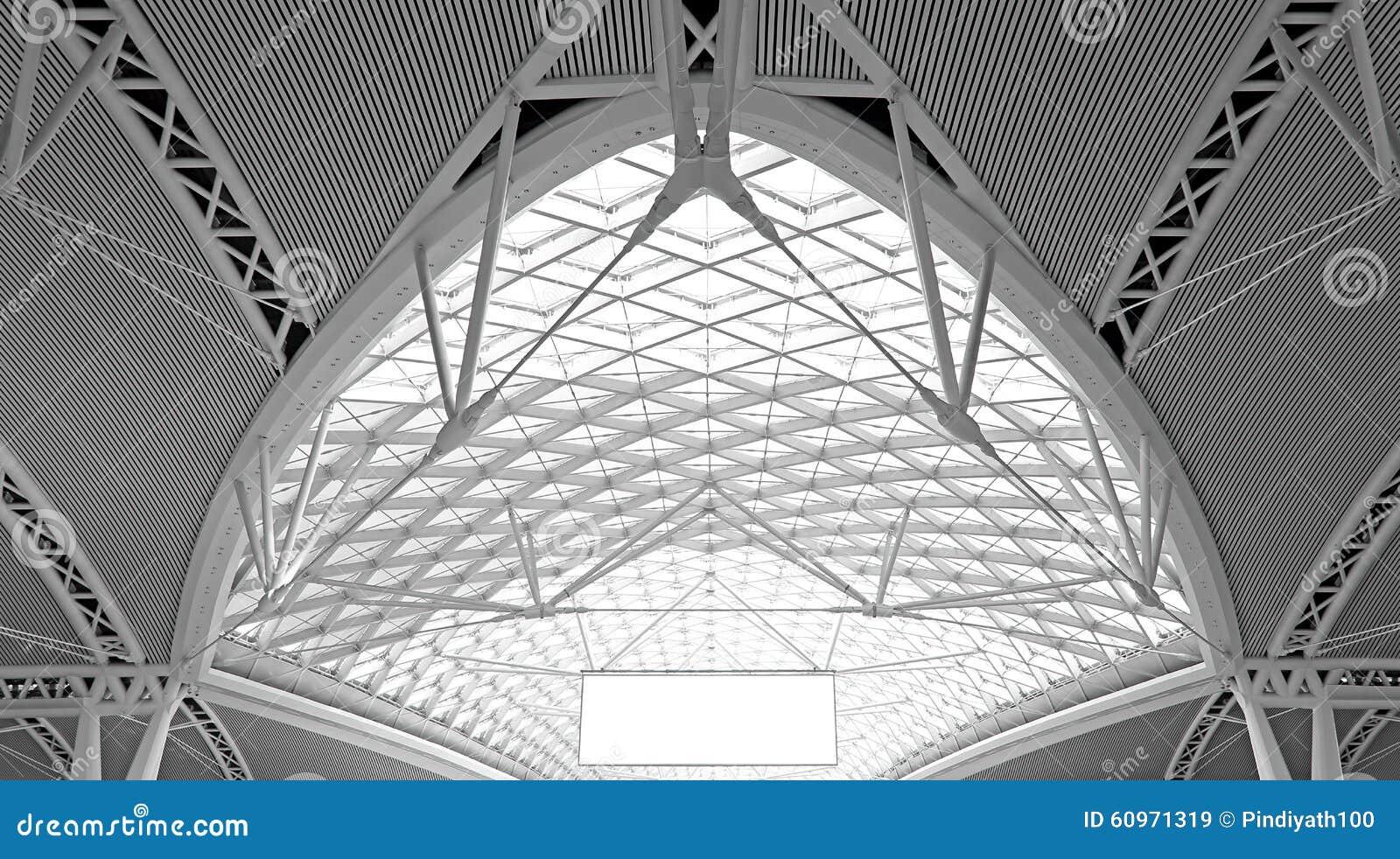 Moderne architectuur: curvy de structuurontwerp van het staaldak