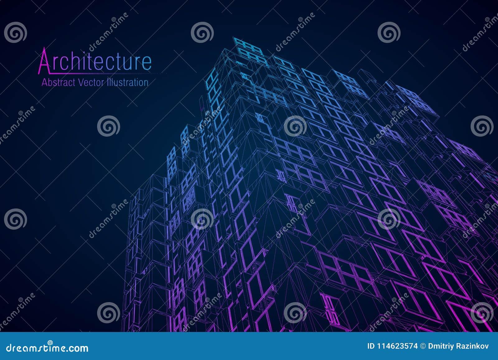 Moderne architectuur wireframe Concept stedelijke wireframe Wireframe de bouwillustratie van architectuurcad tekening