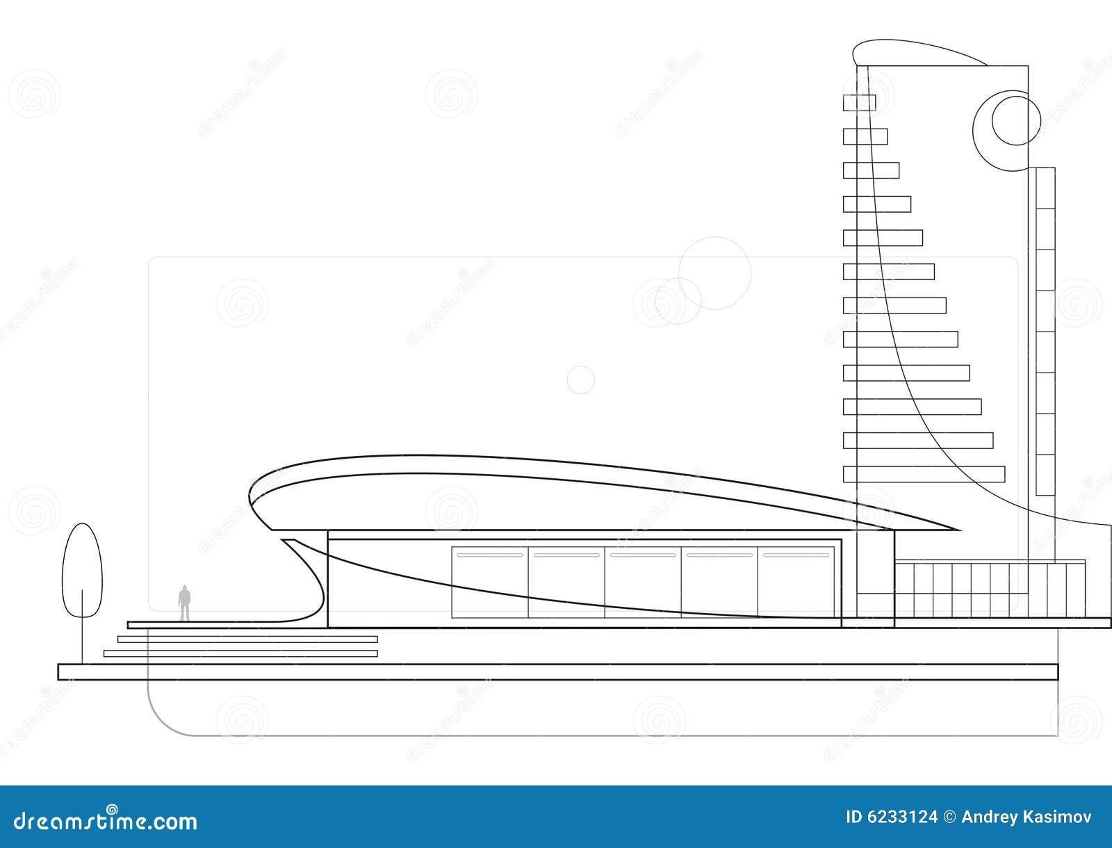 moderne architektur zeichnung stockbilder bild 6233124. Black Bedroom Furniture Sets. Home Design Ideas