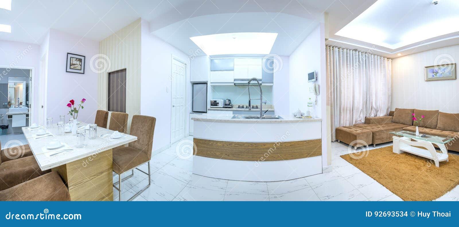 Moderne Artwohnung Kombiniert Wohnzimmer, Esszimmer, Großer Raum ...