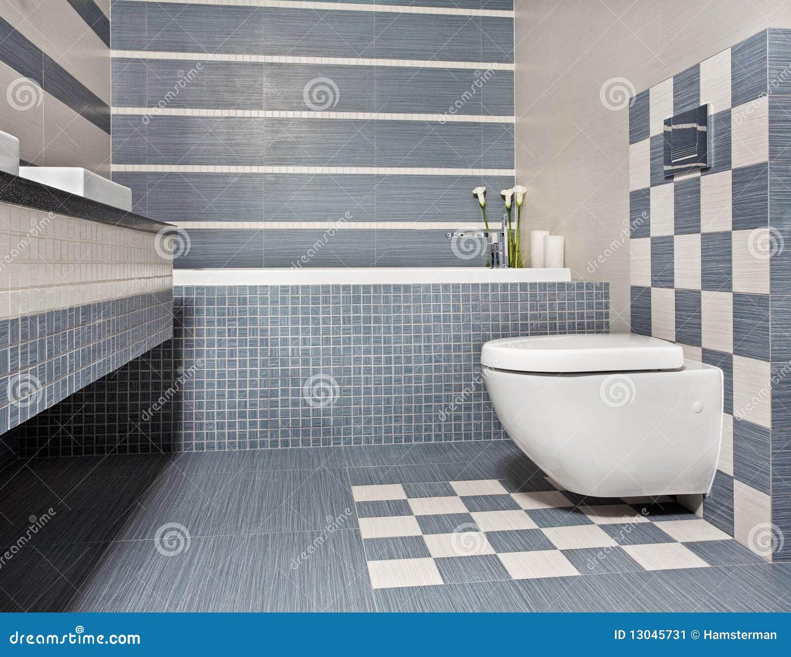 Moderne Badkamers In Blauwe En Grijze Tonen Met Toilet