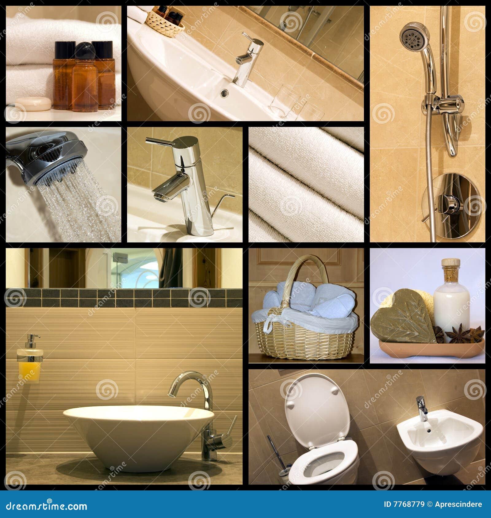 Moderne badkamers collage royalty vrije stock afbeeldingen afbeelding 7768779 for Moderne badkamers