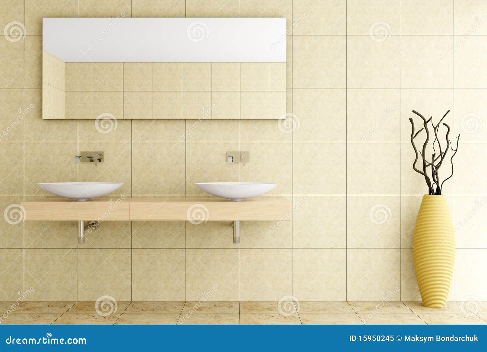 Moderne Badkamers Met Beige Tegels Op Muur Royalty-vrije Stock Foto ...
