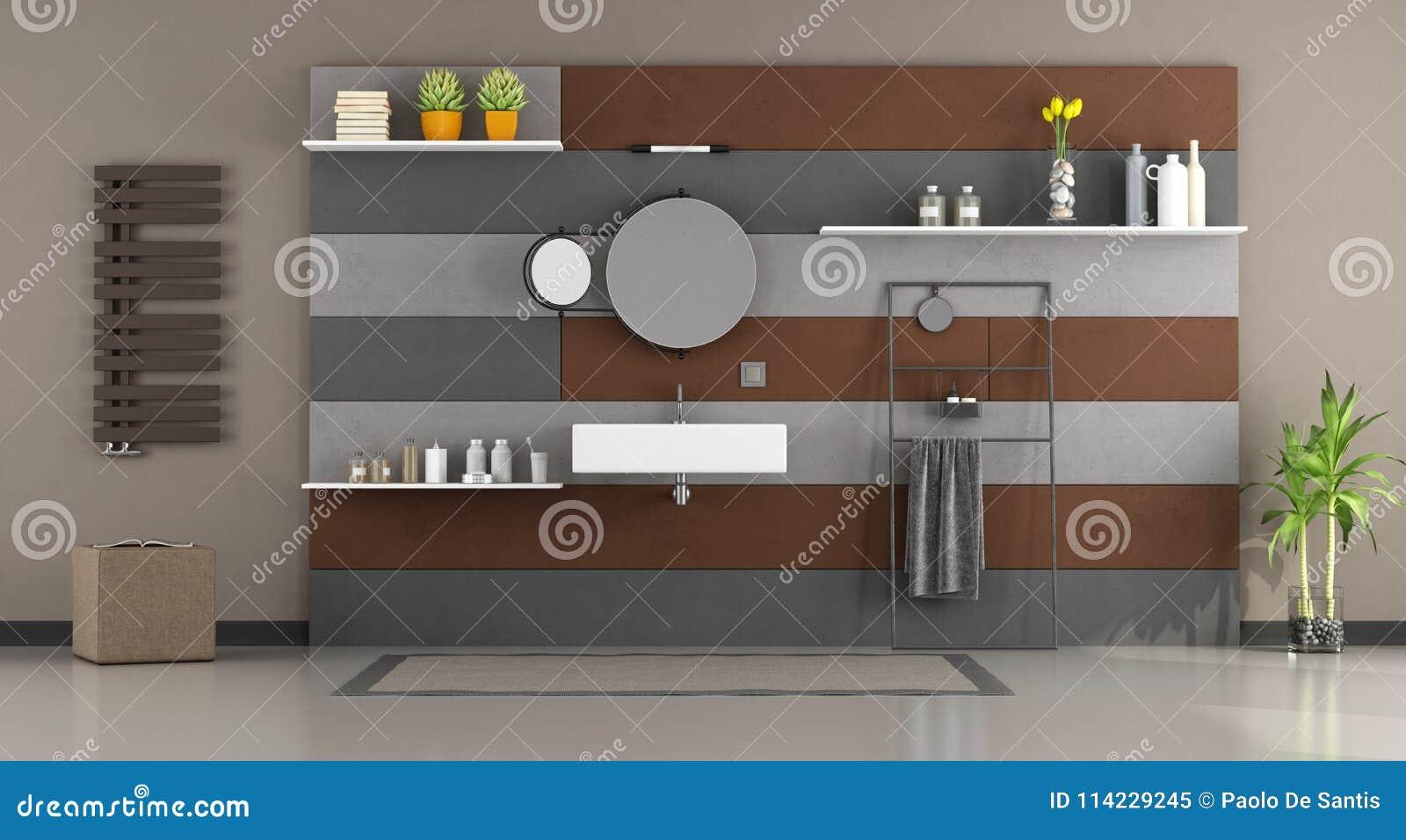 Grijze Wasbak Badkamer : Moderne badkamers met wasbak stock illustratie illustratie