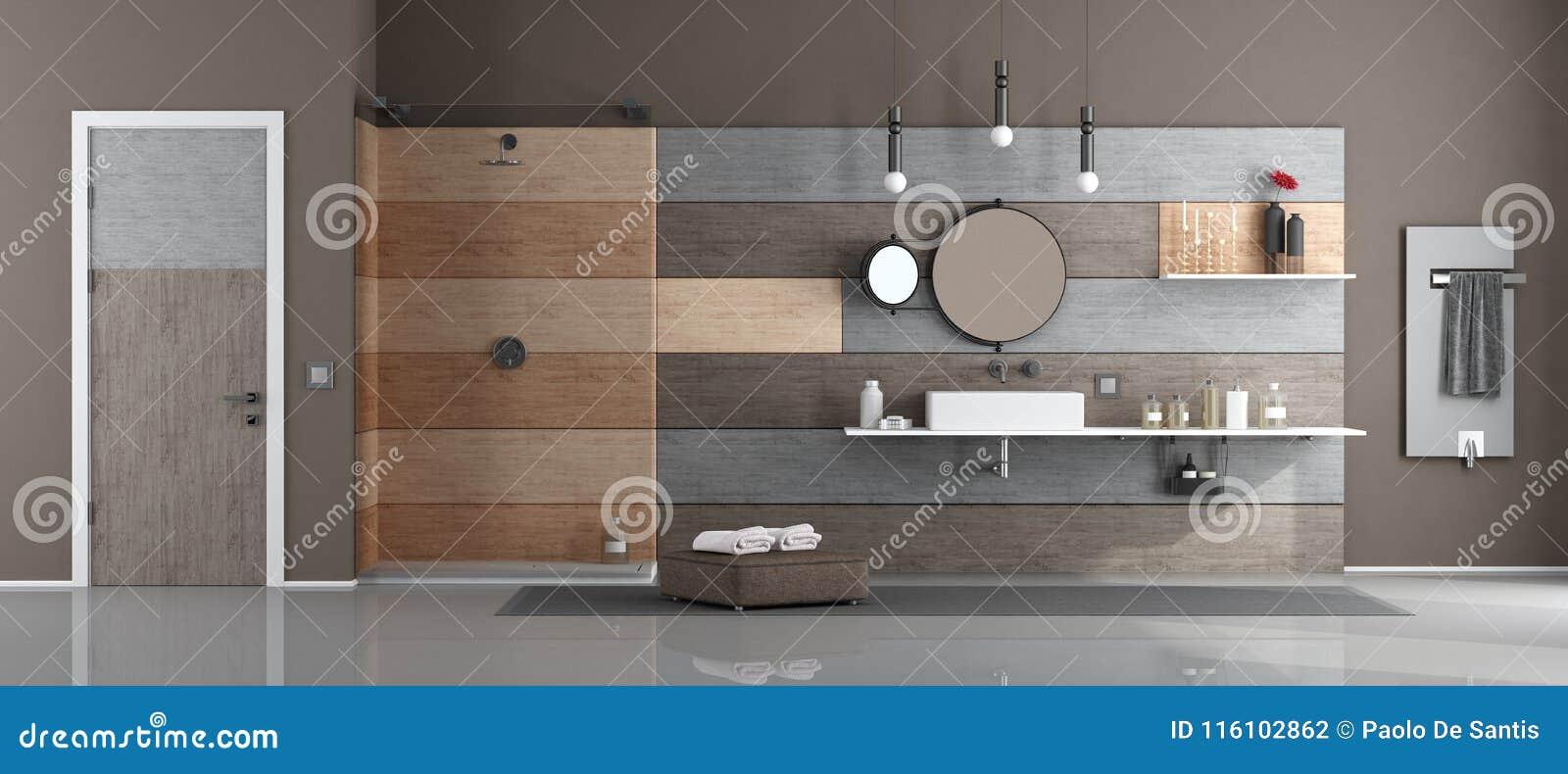 Moderne badkamers met wasbak en douche stock illustratie