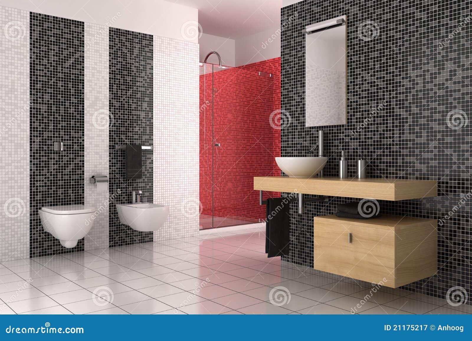 Moderne badkamers met zwarte rode en witte tegels stock for Piastrelle bagno bianche e nere