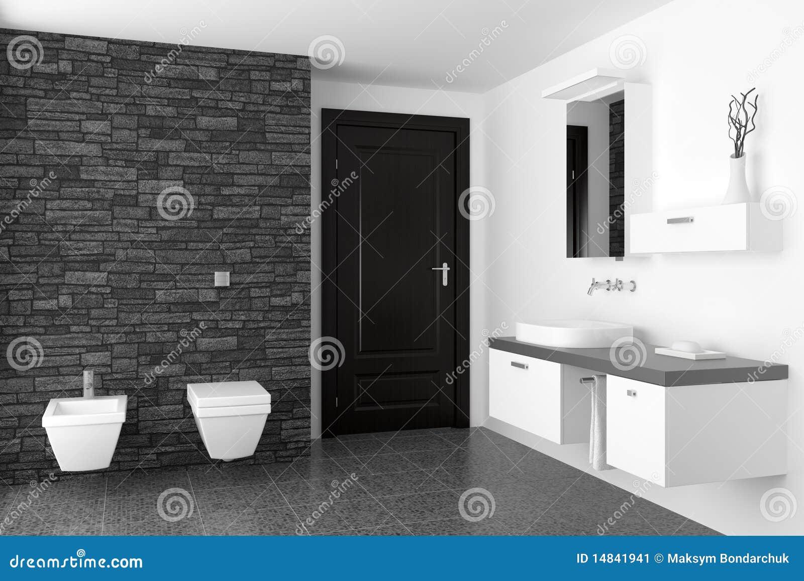 Moderne Badkamers Met Zwarte Steenmuur Stock Afbeelding - Afbeelding ...
