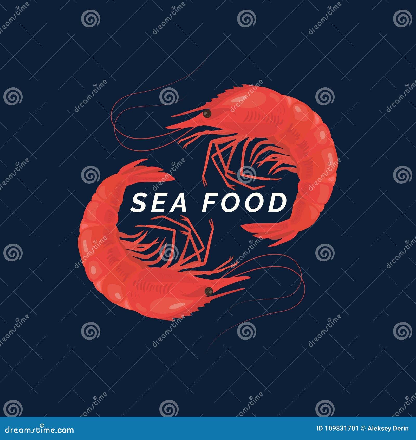 Moderne Begriffsvektorlogo-Meeresfrüchte mit Garnelen