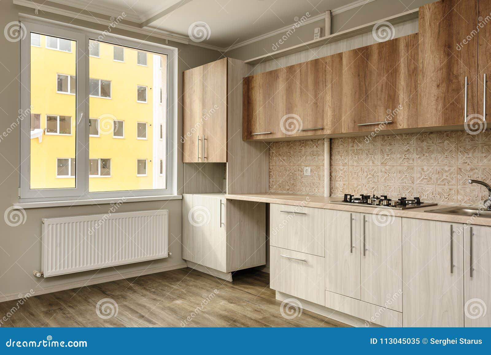 Moderne Beige Kuche Stockbild Bild Von Kuche Beige 113045035