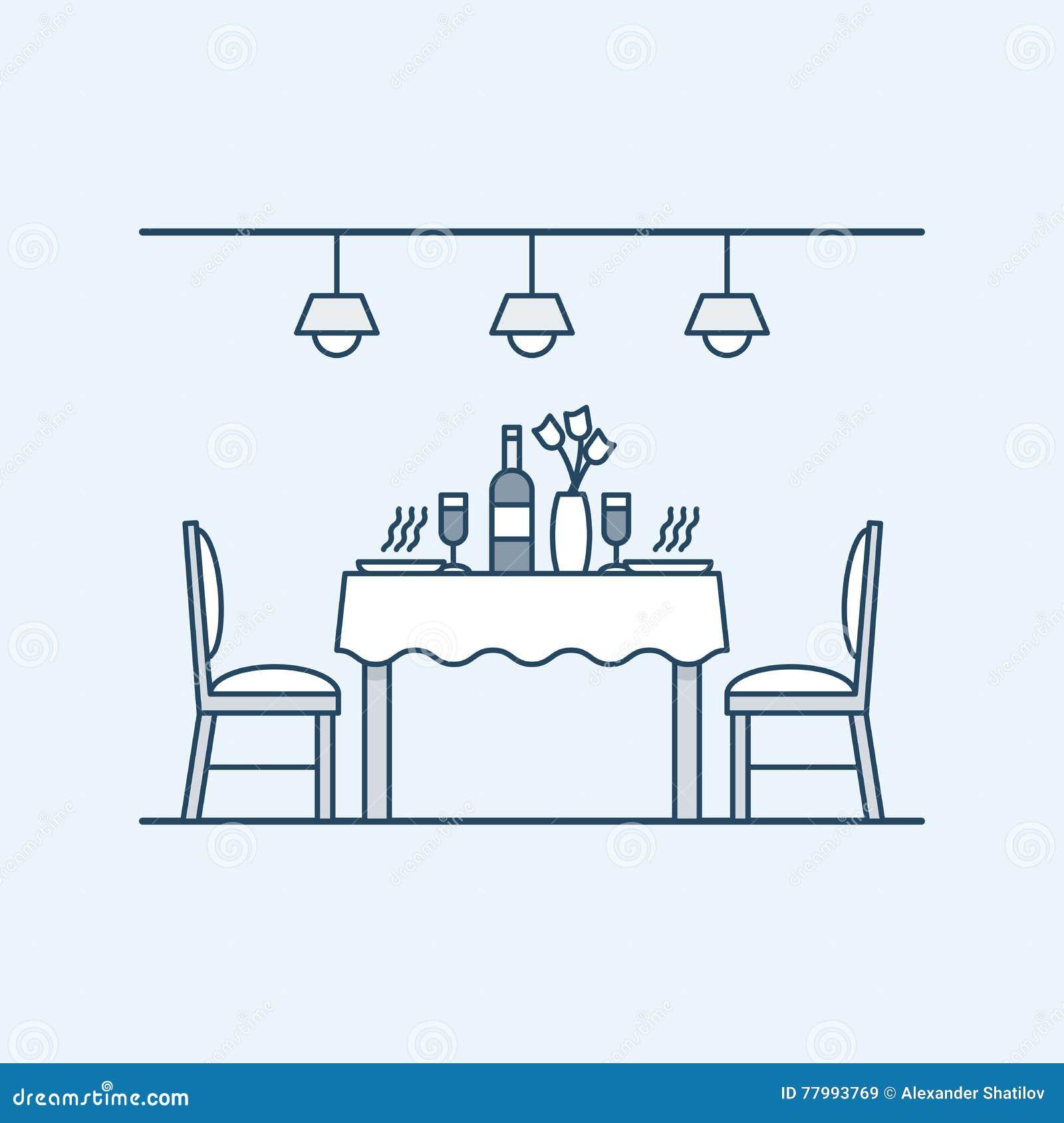 Moderne binnenlandse eetkamer met lijst en stoelen en gediend met twee mensen Fles wijn en glazen De verlichting