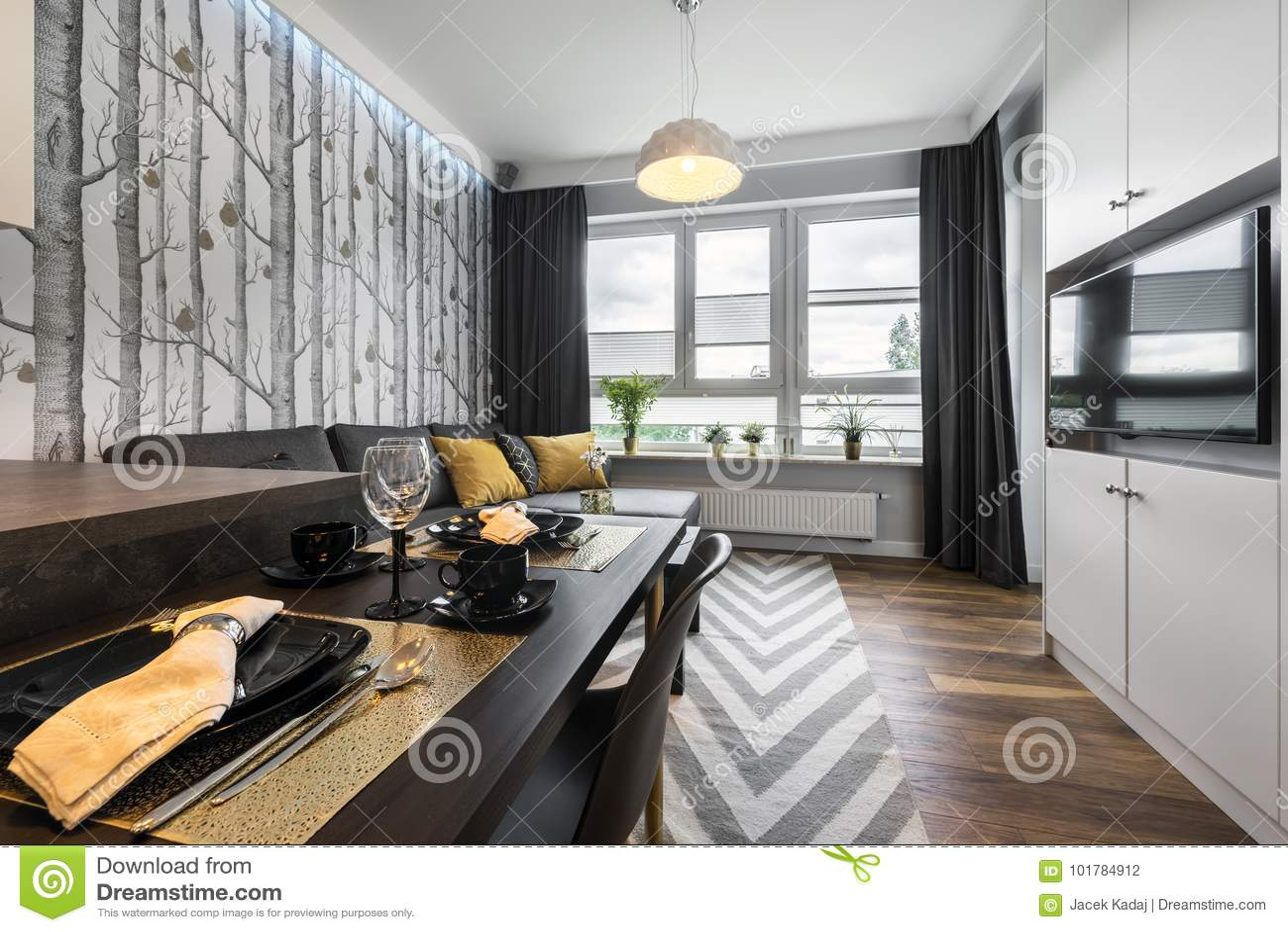 Moderne Binnenlandse Ontwerp Kleine Woonkamer Stock Foto ...