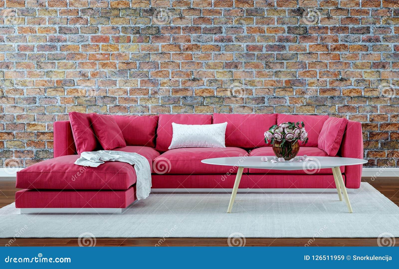 Moderne binnenlandse ontwerpwoonkamer, oude bakstenen muur, retro stijl, rode bank