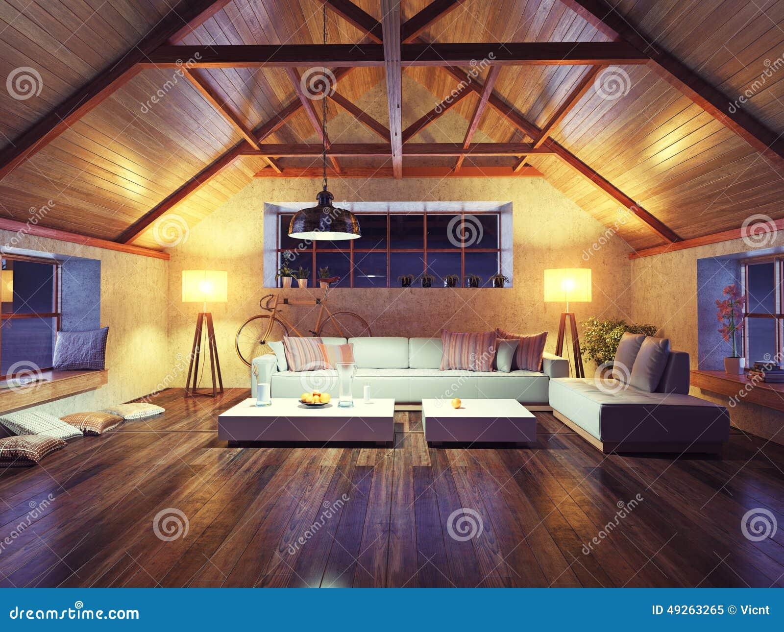 Moderne binnenlandse zolder
