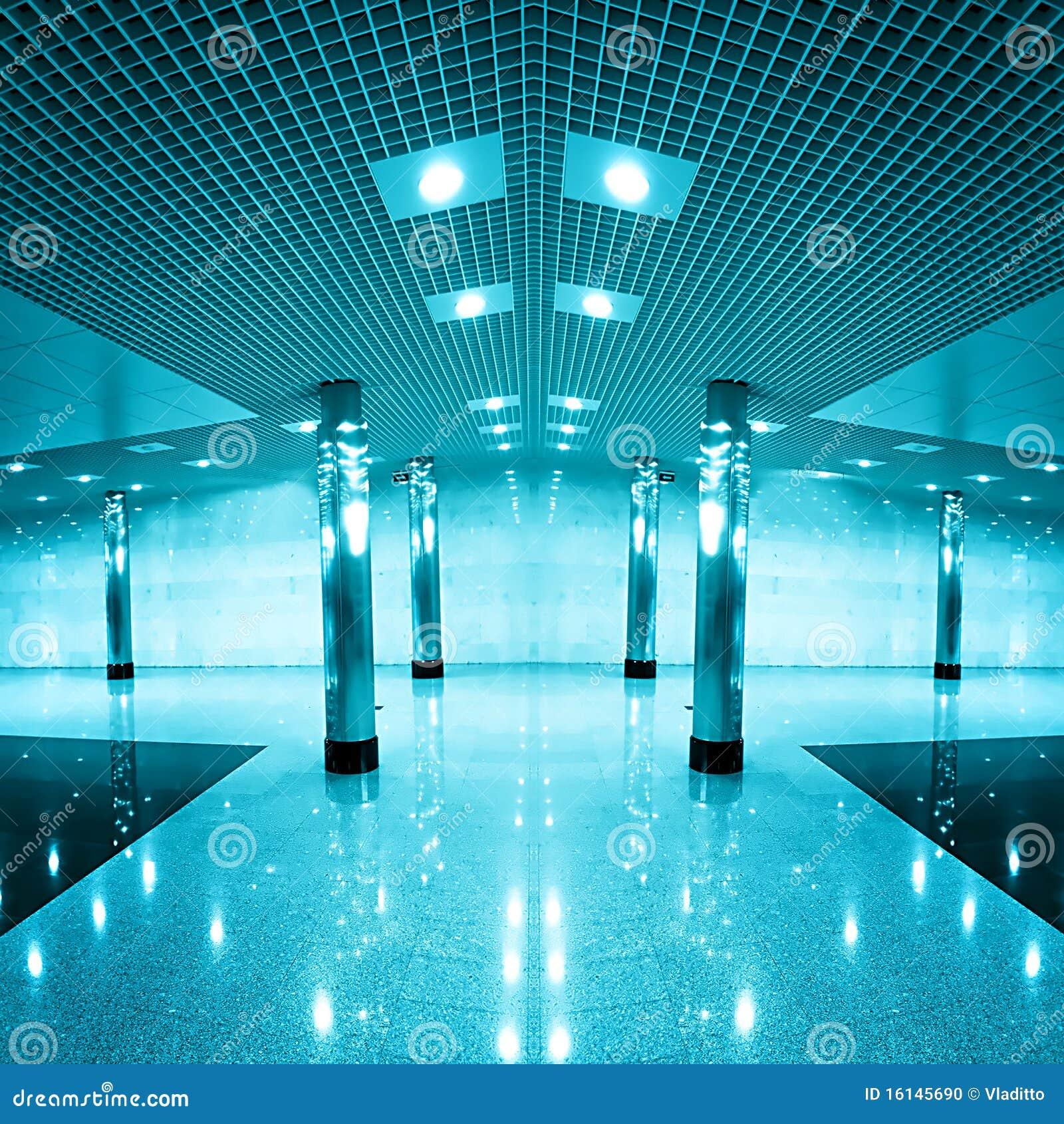 Moderne blaue Geschäftshalle
