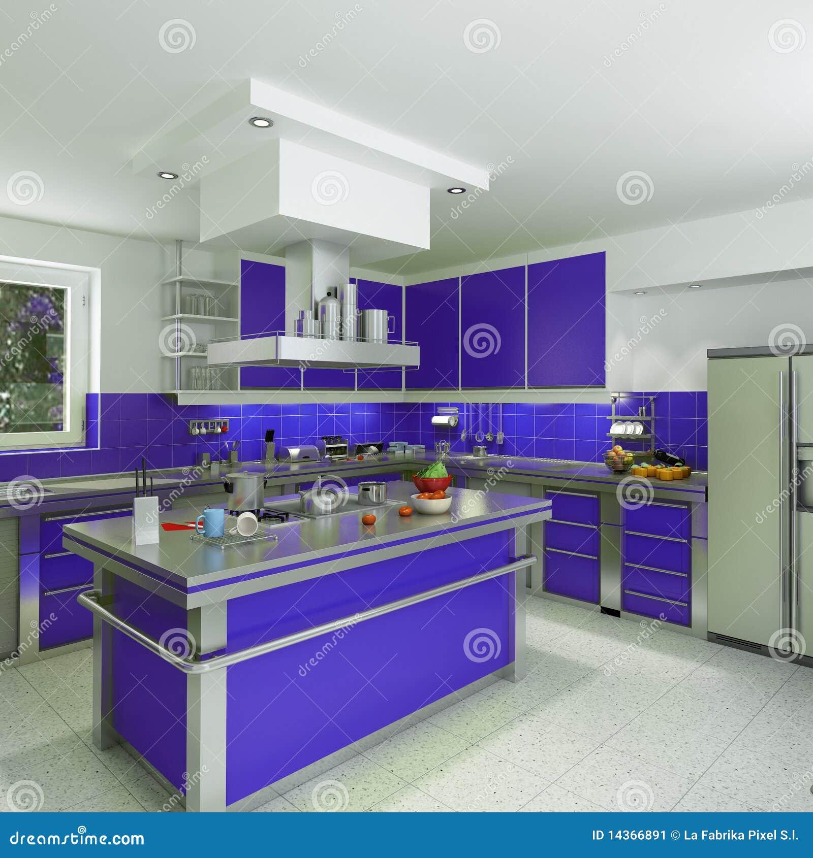 Moderne blaue Küche stock abbildung. Illustration von geräumig ...