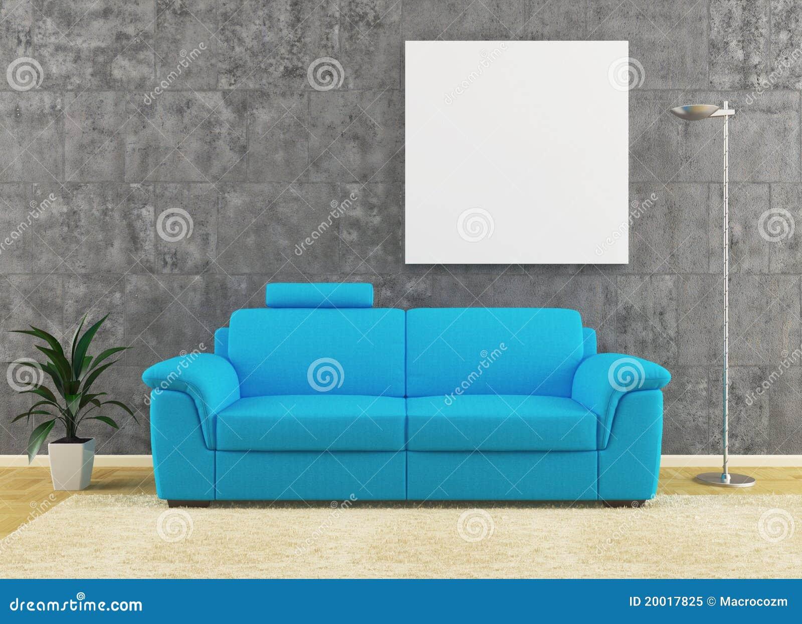 Muur Ontwerp : ... vrije Stock Foto: Moderne blauwe bank op vuil muur ...