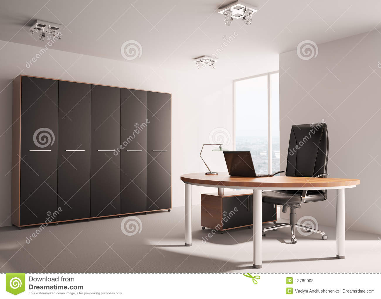 moderne bureau binnenlandse 3d stock illustratie afbeelding 13789008. Black Bedroom Furniture Sets. Home Design Ideas